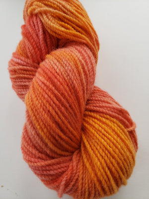 TIGER LILY -  Hand Dyed Orange Coral Worsted Yarn for Rug Hooking - RSS171