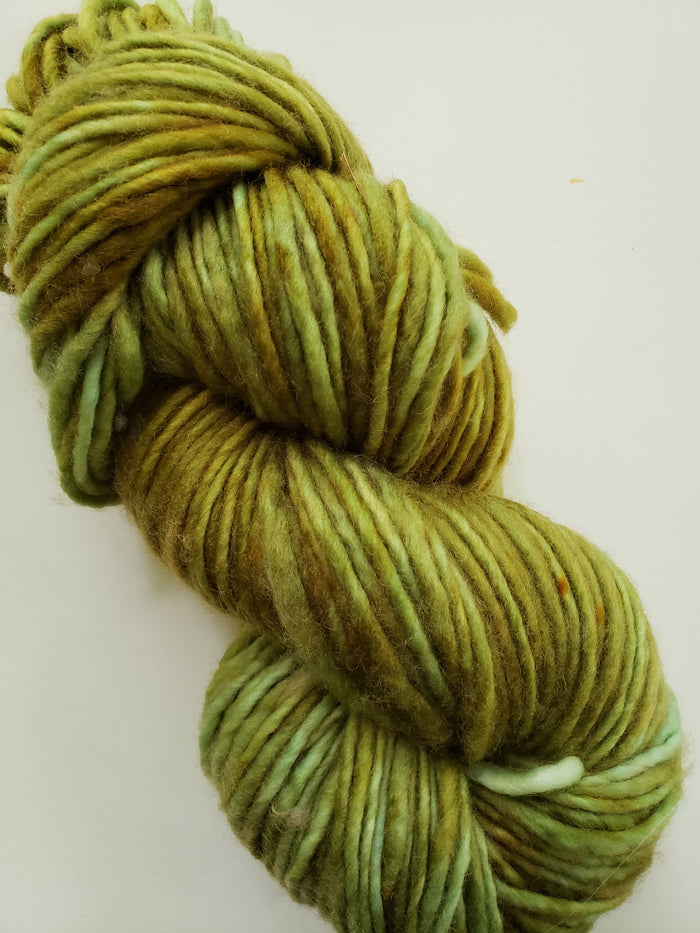 WOOD MOSS - ONE PLY PLUSHY -  Hand Dyed Shades of  Green Chunky Yarn for Rug Hooking - RSS222