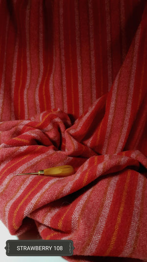 Strawberry #108 -  Washed and Felted - Ready to use Wool Fabric for Rug Hooking or Wool Applique
