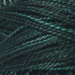 H203 Blackened Teal Hand Dyed Cotton 12wt Valdani Heirloom