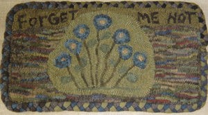 Forget Me Not Primitive Folk Art  -  Rug Hooking Pattern on Linen