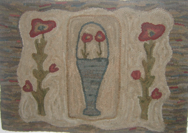 Primitive Poppies Primitive Folk Art  -  Rug Hooking Pattern on Linen