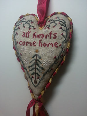 All Hearts Come Home - Hanging Cross Stitch Ornament