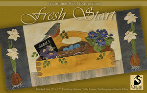 Fresh Start - Wool Applique Pattern - Table Runner/Wall Hanging/Pillow