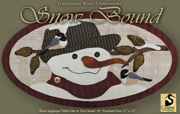 SNOW BOUND - Wool Applique Pattern - Oval Table Mat
