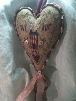Where My Heart Is - Hanging Cross Stitch Ornament