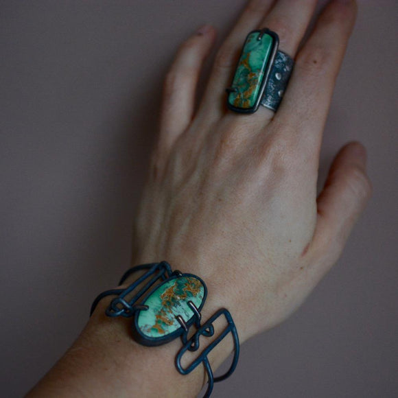 Australian Varissime Contemporary Jewelry Set Ring and Cuff