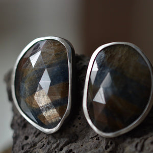 Gold Sheen Sapphire Earrings Large