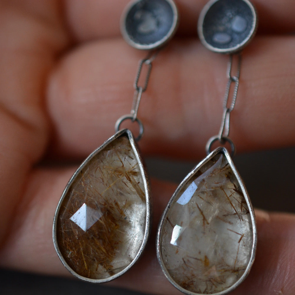 Spark: Rutilated Quartz Teardrop Earrings