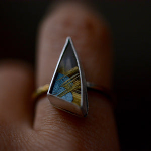 Spark: Geometric Star Rutile Keum Boo Ring, size 8.25