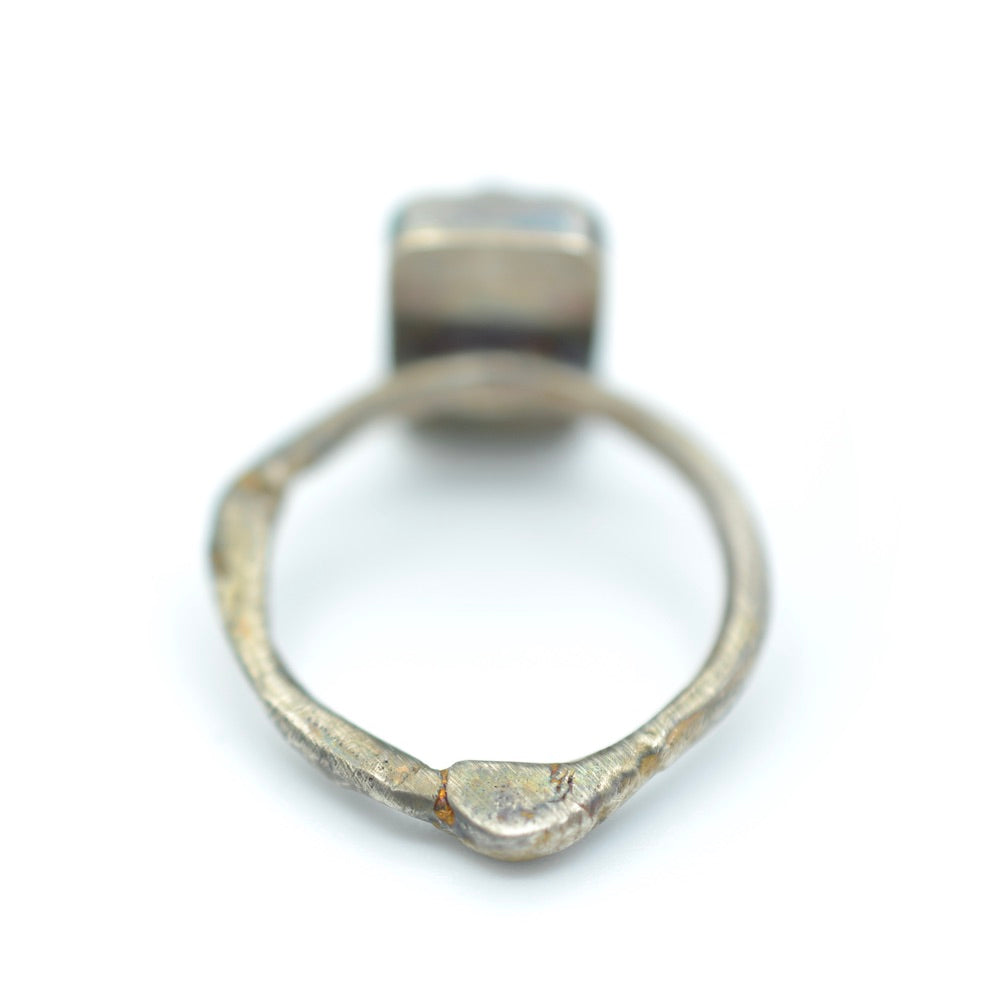 Tourmaline Ring with Bright White Topography Band