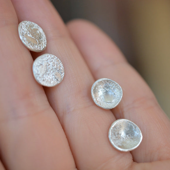 Silver Circular Topography Studs