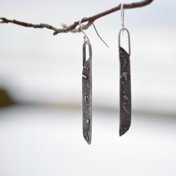 Silver Topography Dangle Earrings