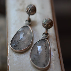 Hematite in Quartz Drop Studs