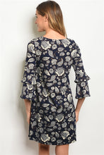Load image into Gallery viewer, Unique Navy Blue and White Floral Pattern 3/4 Sleeve Dress
