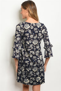 Unique Navy Blue and White Floral Pattern 3/4 Sleeve Dress