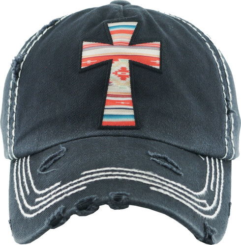 Serape Cross Vintage Style Ball Cap with Floral Accents