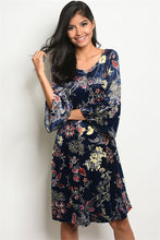 Load image into Gallery viewer, Sassy Navy Floral Print Sway Dress Long Sleeves