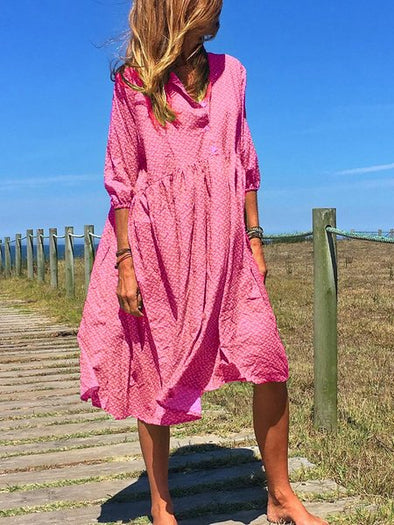 Cotton-Blend 3/4 Sleeve Casual Dresses
