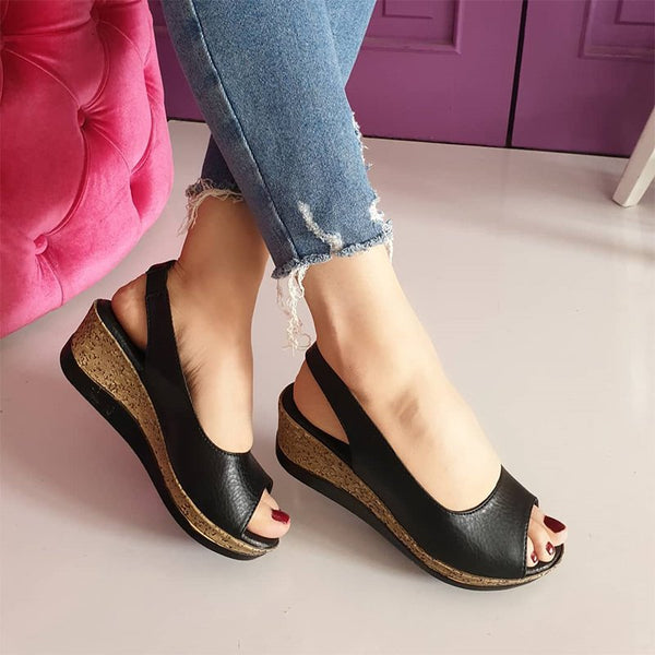 Women Simple Style low Wedge Shoes