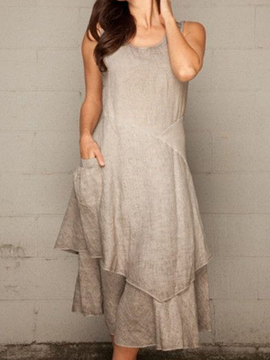 Grey Casual Crew Neck Sleeveless Dresses