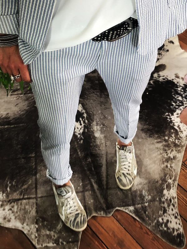 Elastic Band Striped Plus Size Pants
