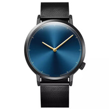 Load image into Gallery viewer, black mens watch ,blue face men watch , luxury men watch , stainless steel watch