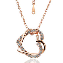Load image into Gallery viewer, gold necklace , gold heart necklace , valentine day gift , best jewelry online , online jewelry store, jewelry sale , where to buy gold necklace , Double Heart Necklace With Silver Crystals