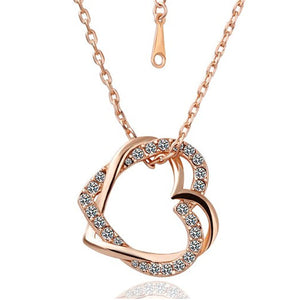 gold necklace , gold heart necklace , valentine day gift , best jewelry online , online jewelry store, jewelry sale , where to buy gold necklace , Double Heart Necklace With Silver Crystals