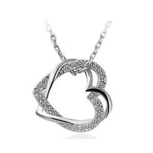 Double Heart Necklace With Silver Crystals,Silver  necklace , silver heart necklace , valentine day gift , best jewelry online , online jewelry store, jewelry sale , where to buy silver necklace