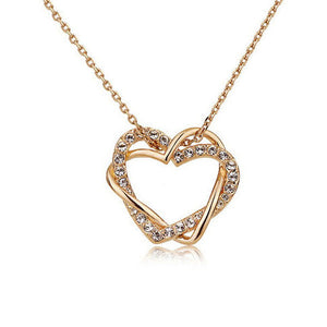 Double Heart Necklace With Silver Crystals,Gold   necklace , gold  heart necklace , valentine day gift , best jewelry online , online jewelry store, jewelry sale , where to buy gold  necklace