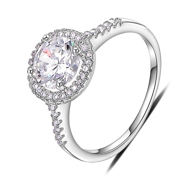 18K White Gold Plated Traditional Promise Ring For Women