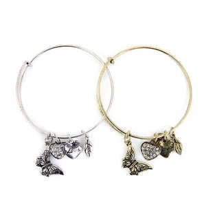 butterfly bangle , butterfly bracelet , gold and silver bangle ,Butterfly Silver And Gold Diamond Bracelet