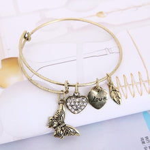 Load image into Gallery viewer, butterfly bangle , butterfly bracelet , gold and silver bangle ,Butterfly Silver And Gold Diamond Bracelet