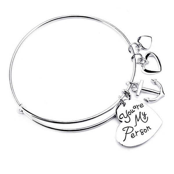 silver bangle , silver heart charm bangle ,Charm Bangle : You are my person Silver Bangle For Women And Me