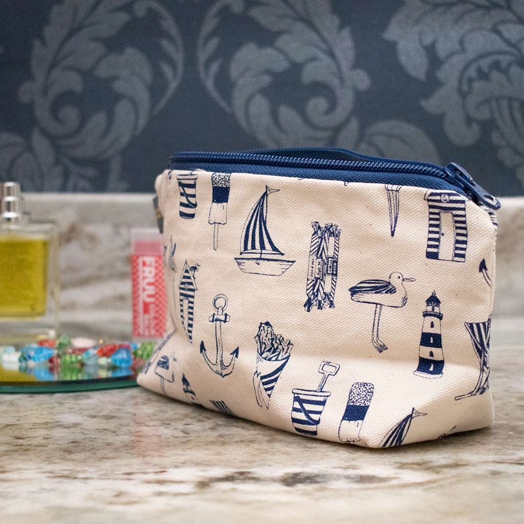 Victoria Eggs nautical cosmetic bag