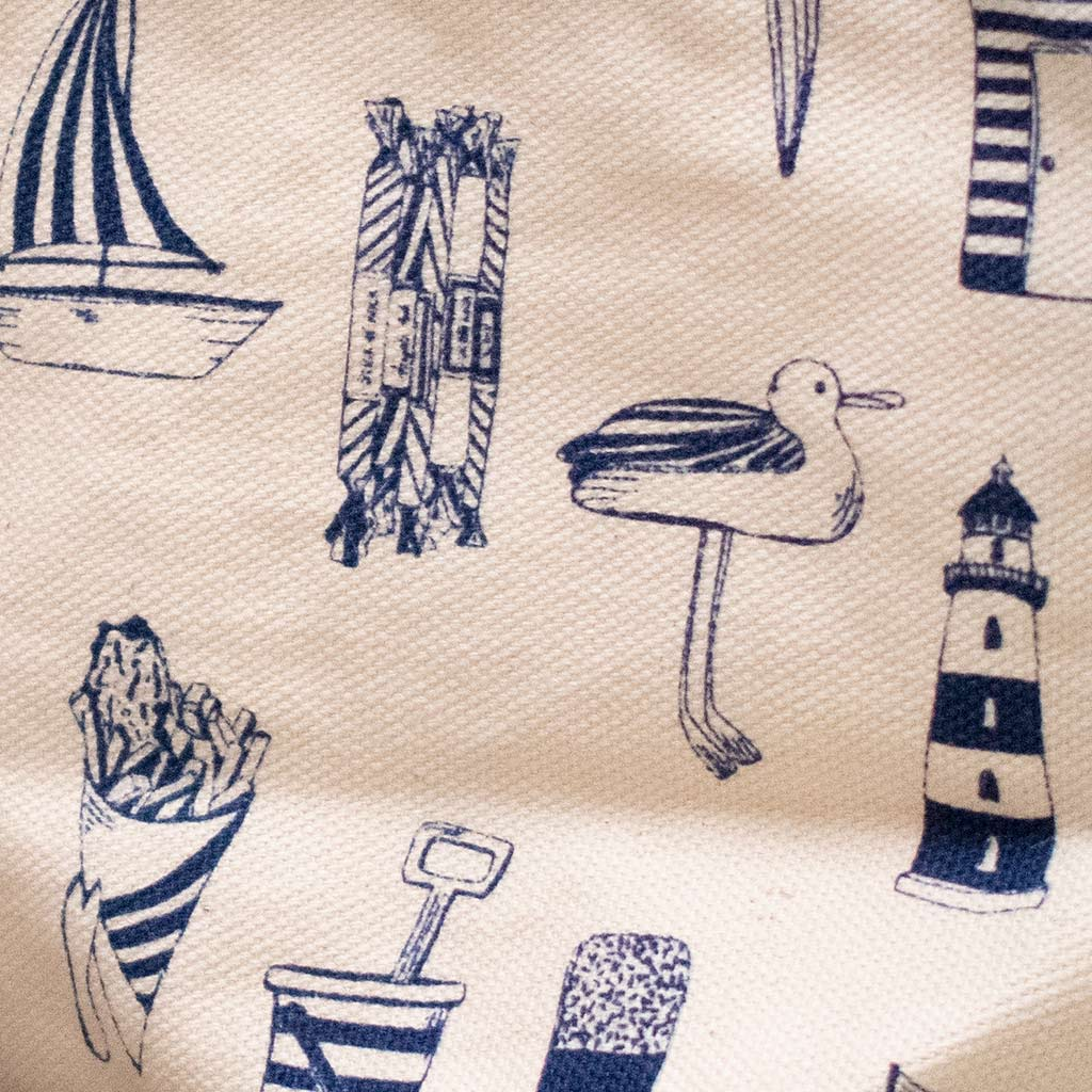 Victoria Eggs nautical cosmetic bag close up