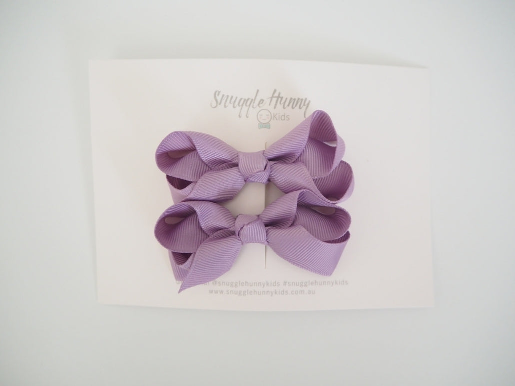 Lilac Clip Bow- Small Piggy Tail Pair - Happily Ever After Boutique