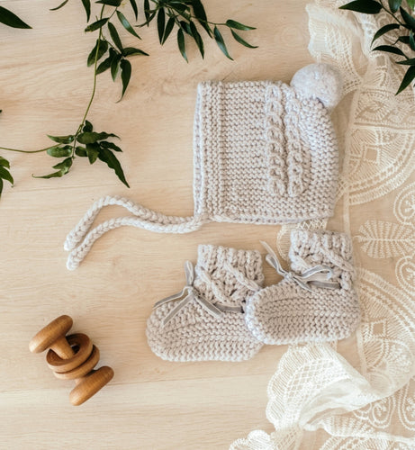 Grey Merino Wool Bonnet & Booties - Happily Ever After Boutique