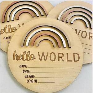 Hello World Baby Birth Announcement Disc Sand dune - Happily Ever After Boutique