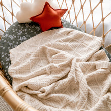 Load image into Gallery viewer, Cream organic knitted blanket - Happily Ever After Boutique