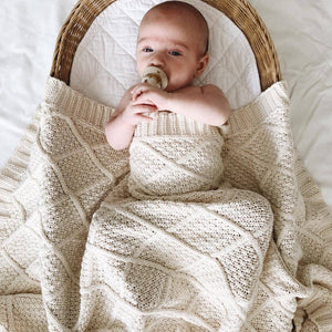 Cream organic knitted blanket - Happily Ever After Boutique