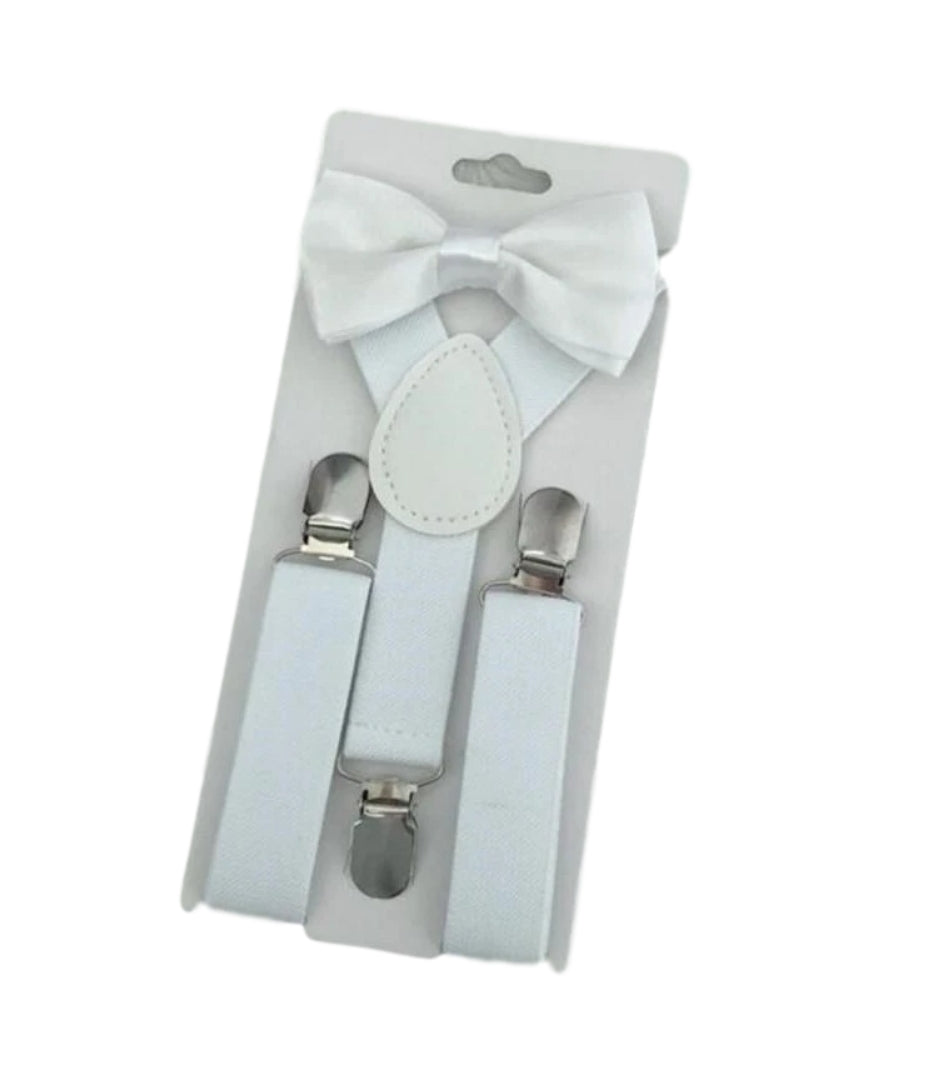 White Bow Tie And Suspender Set - Happily Ever After Boutique