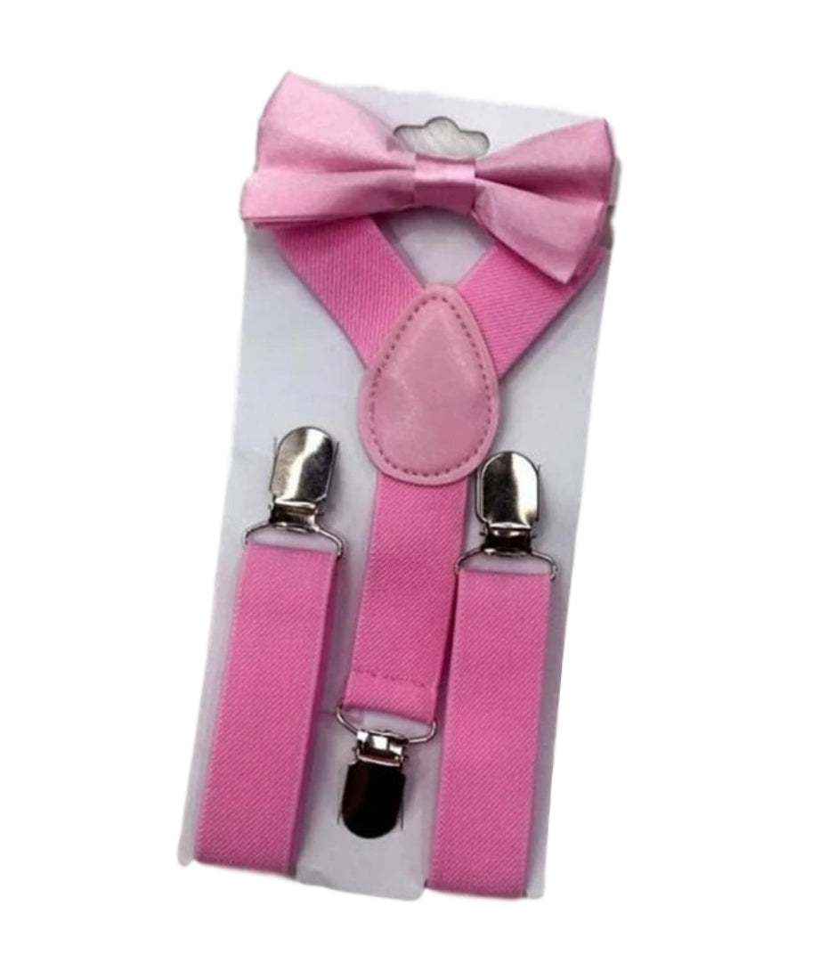 Pale Pink Bow Tie And Suspender Set - Happily Ever After Boutique