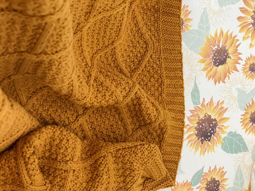 Honey Mustard Knitted Blanket - Happily Ever After Boutique