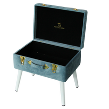 Load image into Gallery viewer, Steele Blue Luxe Velvet Storage Stool - Happily Ever After Boutique