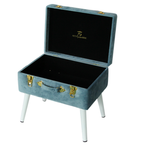 Steele Blue Luxe Velvet Storage Stool - Happily Ever After Boutique