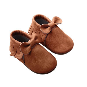 Brown Bow Moccasin Shoes - Happily Ever After Boutique