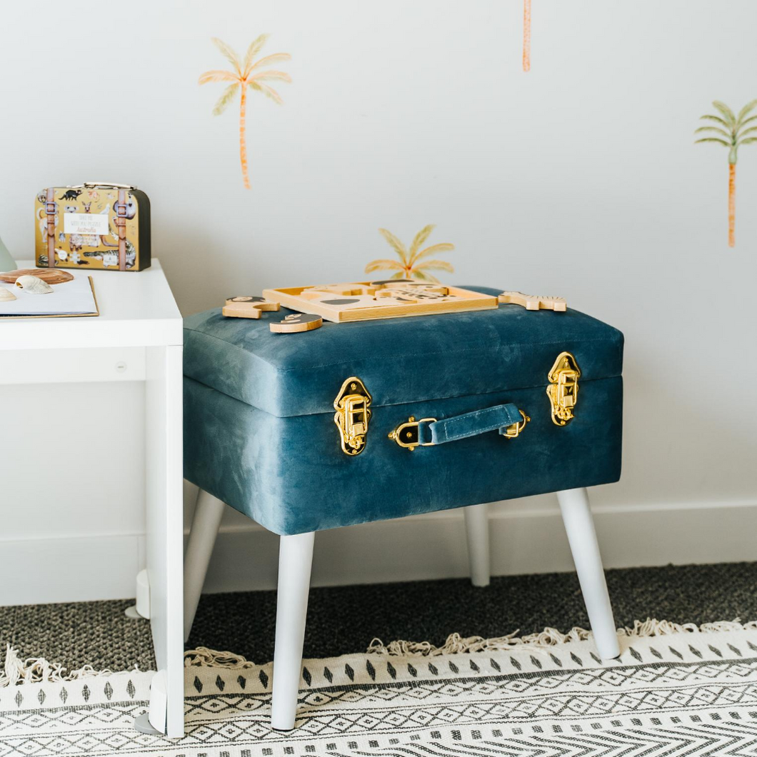 Steel Blue Luxe Velvet Storage Stool - Happily Ever After Boutique