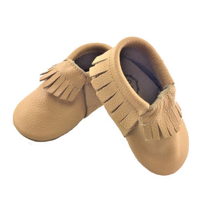Beige Frilled Moccasin Shoes - Happily Ever After Boutique